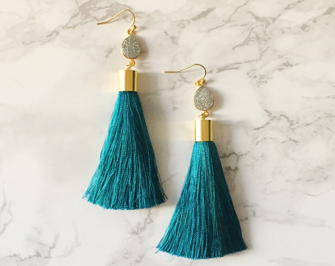 Dark Teal Tassel Drop Earrings - Silver Druzy Teardrop