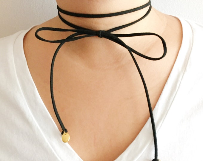 Black Leather Suede Bow Choker