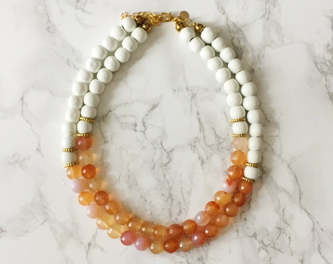 Beaded Statement Necklace - Faceted Amber Agate