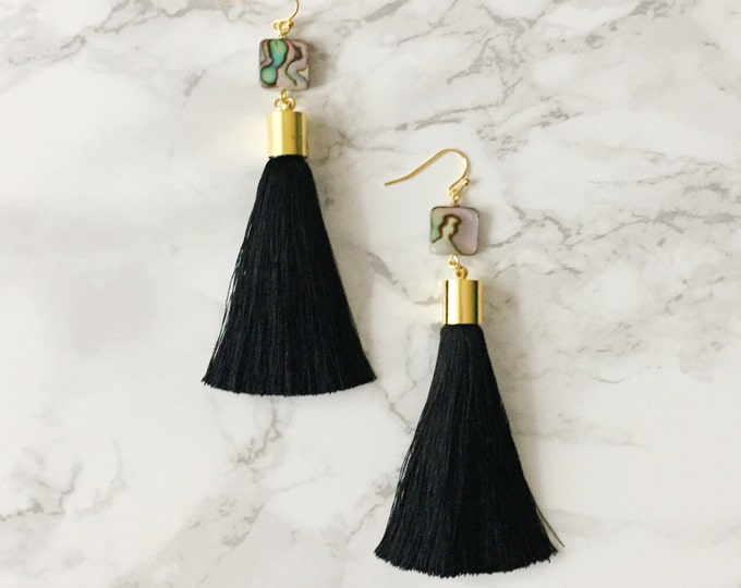 Black Tassel Drop Earrings - Abalone Shell