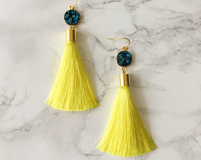 Yellow Peacock Tassel Drop Earrings - Turquoise Druzy