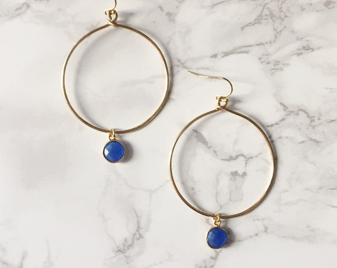 Gold Hoop Earrings - Blue Gemstone