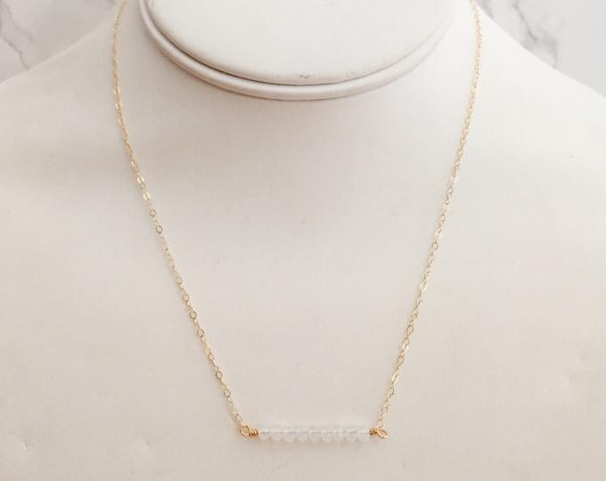 Dainty Semi-Precious Beaded Gemstone Necklace - Clear White Opalite