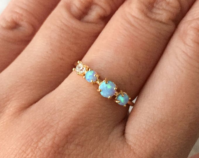Blue Multi Opal Gold Ring - Adjustable