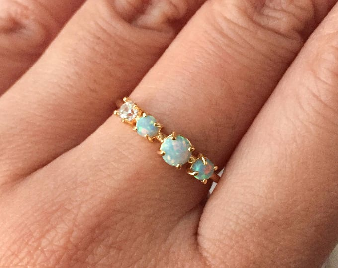 Mint Multi Opal Gold Ring - Adjustable