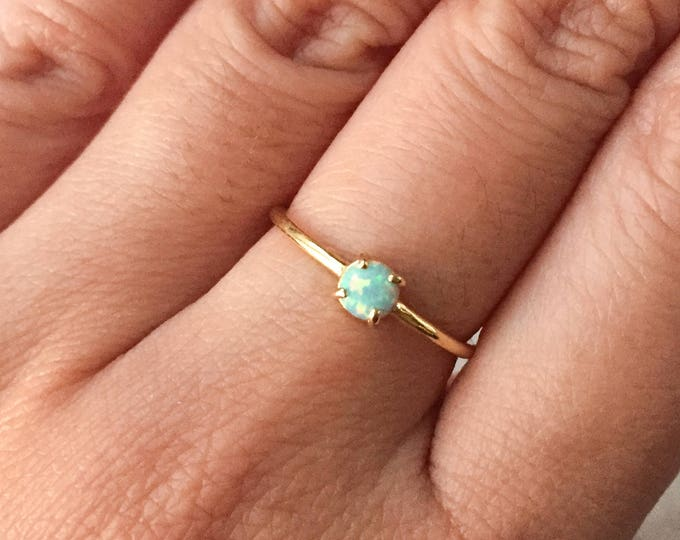 Dainty Mint Opal Gold Ring - Adjustable