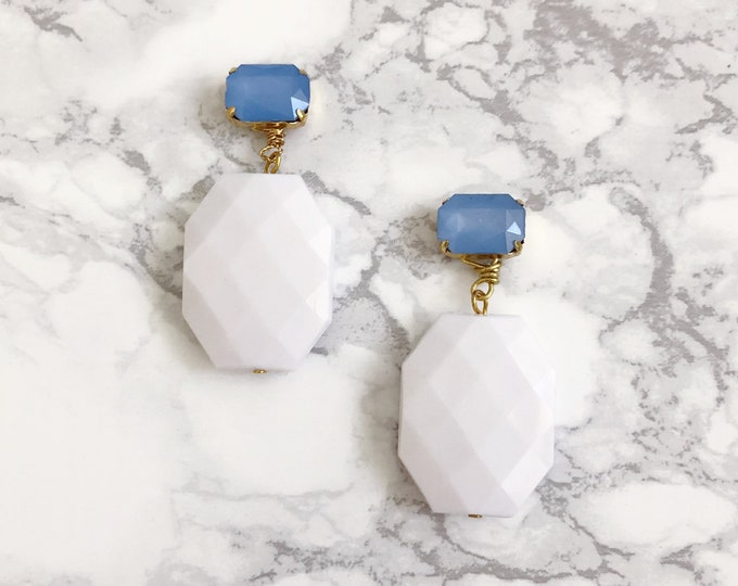 Faceted White & Blue Statement Earrings