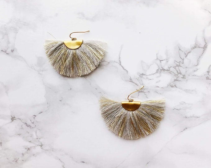 Spectrum Fan Earrings - Grey & Gold