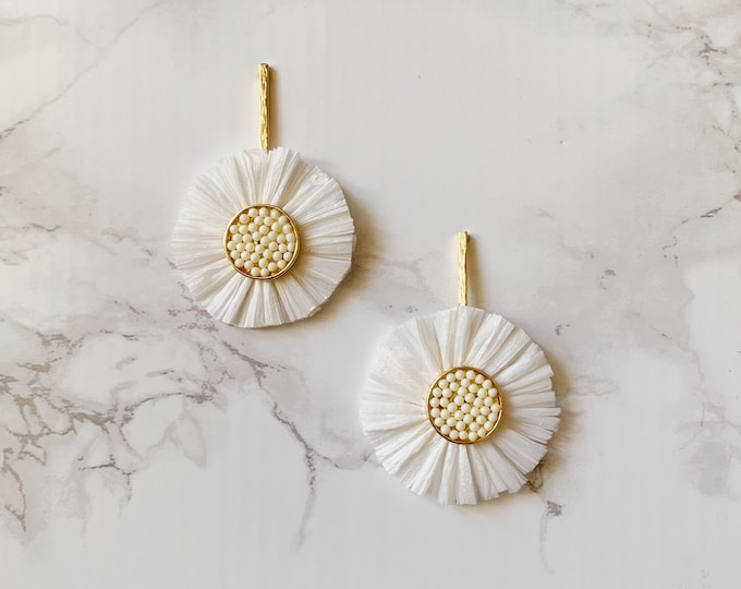 Poppy Statement Earrings - White