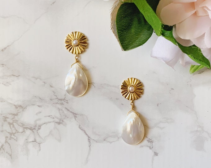 Gilded Pearl Drop Earrings