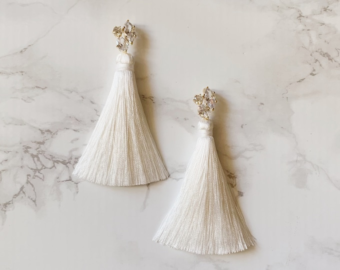 Whimsy Tassel Earrings - White