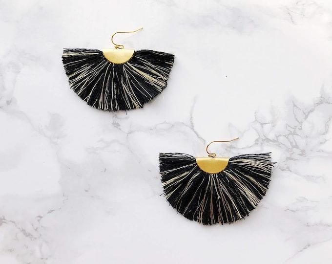Spectrum Fan Earrings - Black & Gold