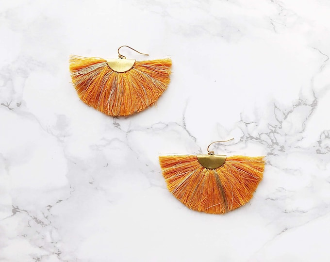 Spectrum Fan Earrings - Tangerine & Gold