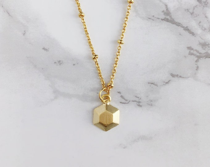 Dainty Gold Hexagon Charm Necklace