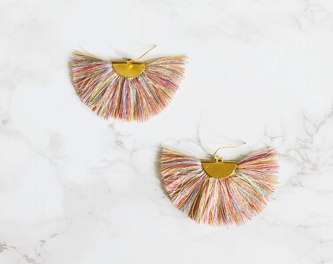 Spectrum Fan Earrings - Pastel Multi