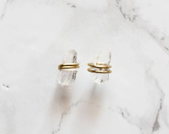 Dainty Wire Wrapped Crystal Quartz Stud Earrings