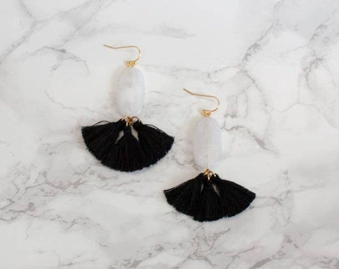 Black & White Mini Tassel Drops