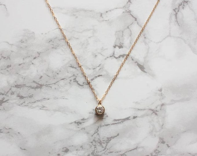 Dainty Gold Round Cubic Zirconia Necklace
