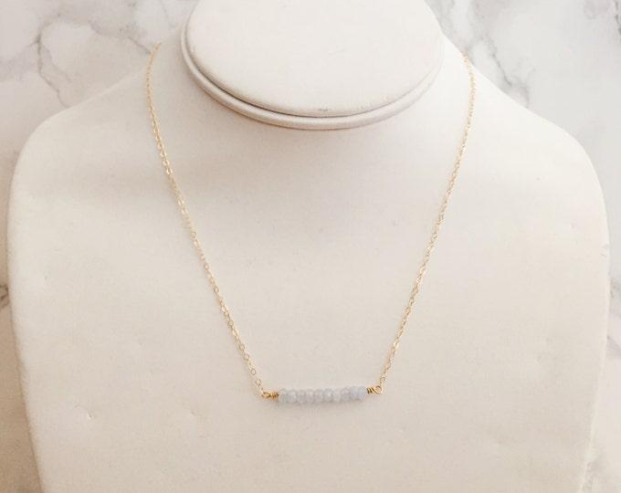 Dainty Semi-Precious Beaded Gemstone Necklace - Pale Blue Jade