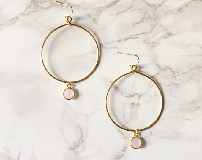 Gold Hoop Earrings - Pale Pink Gemstone