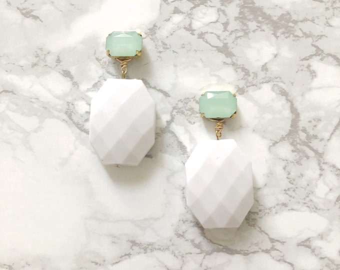 Faceted White & Mint Green Statement Earrings