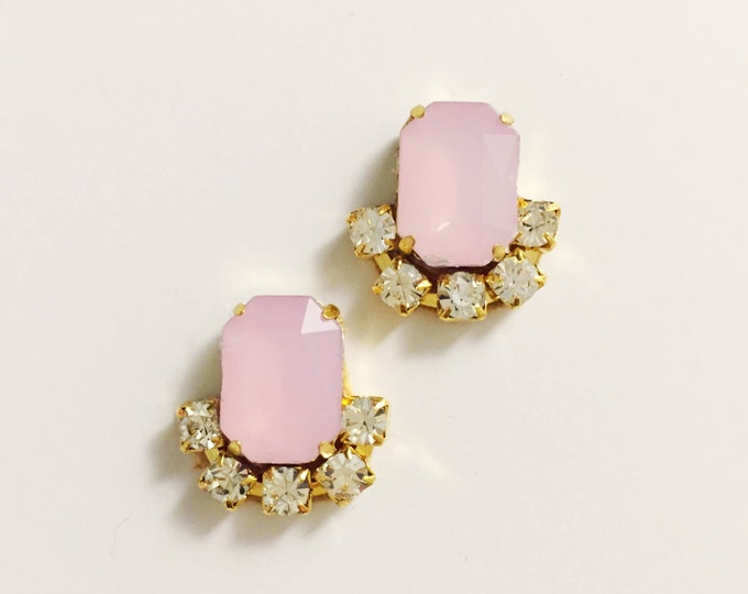 Pastel Pink Stud Earrings