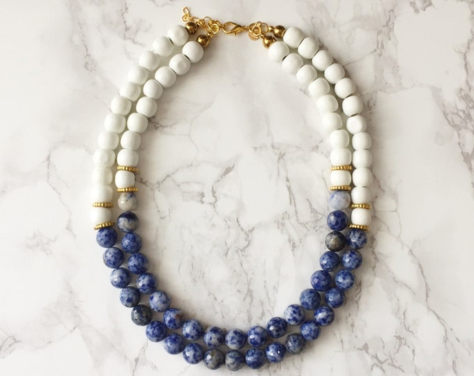 Beaded Statement Necklace - Faceted Blue & White Lapis