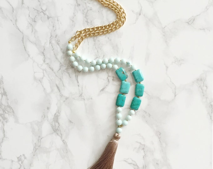 Sale! 50% Off! Beaded Tassel Necklace - Mint Green & Rectangle Turquoise