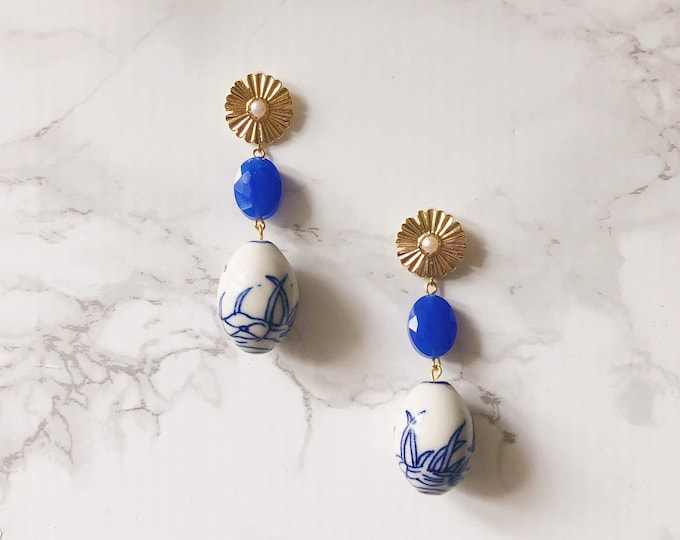 Blue & White Drop Earrings *One of a Kind*