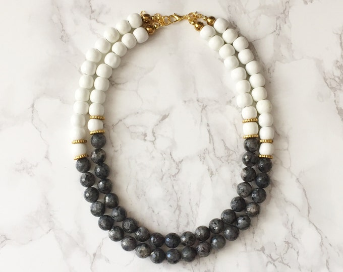 Beaded Statement Necklace - Faceted Black & Gray Labradorite