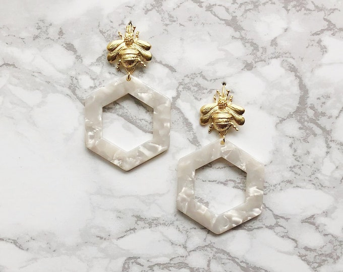 Honeycomb Earrings - Pearl Acrylic