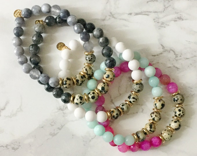 SALE - Speckled Stretch Bead Bracelet