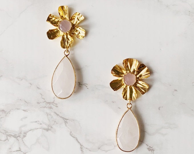 Gardenia Drop Earrings - Pink White