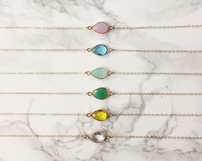 Dainty Pear Necklace  (Choose a Gemstone)