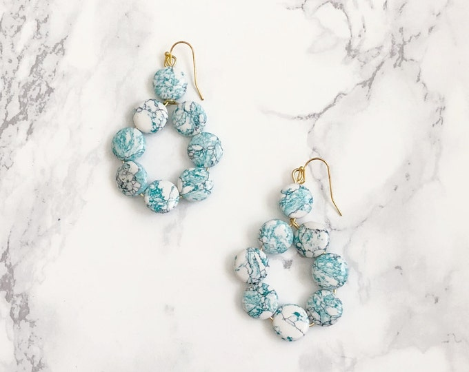 Turquoise Round Statement Earrings