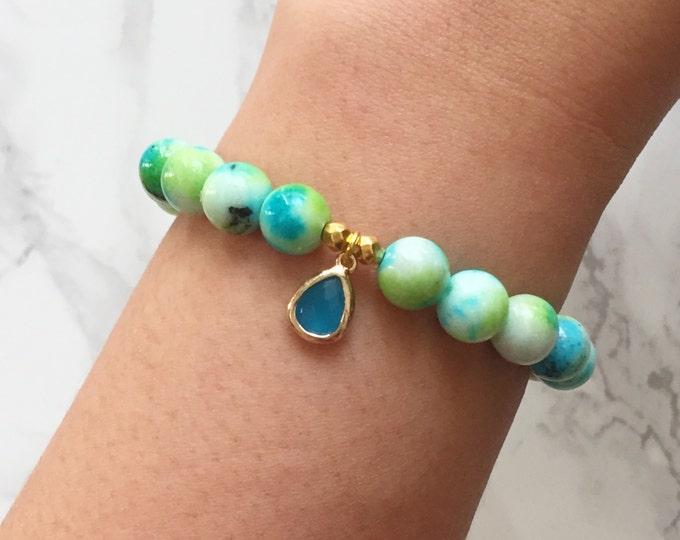 SALE - Watercolor Bracelet Charm Bracelet - Blue & Turquoise