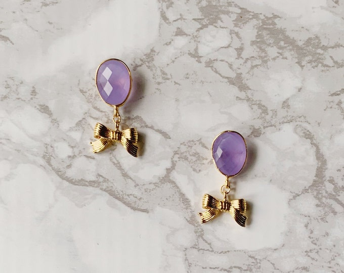Newlywed Bow Earrings - Lavender