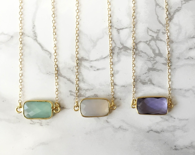 Small Rectangle Gemstone Necklace - As Seen on THE BACHELORETTE!