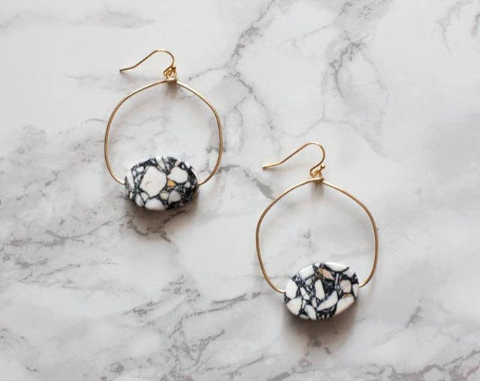 Marble Stone Hoop Earrings - Navy White