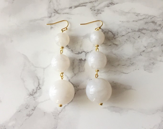 Orbital Drop Earrings - Marbled White
