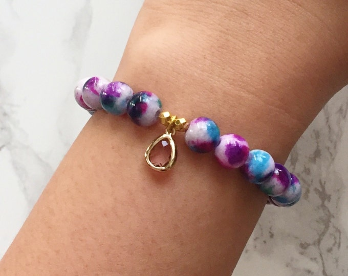 Watercolor Bracelet Charm Bracelet - Purple & Blue