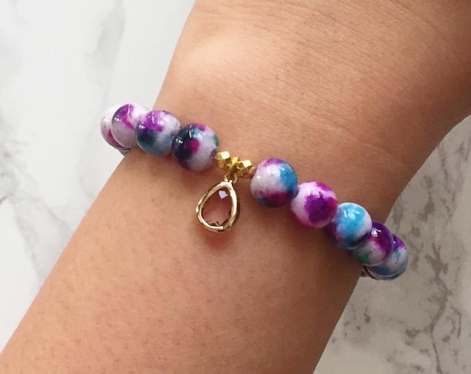SALE - Watercolor Bracelet Charm Bracelet - Purple & Blue