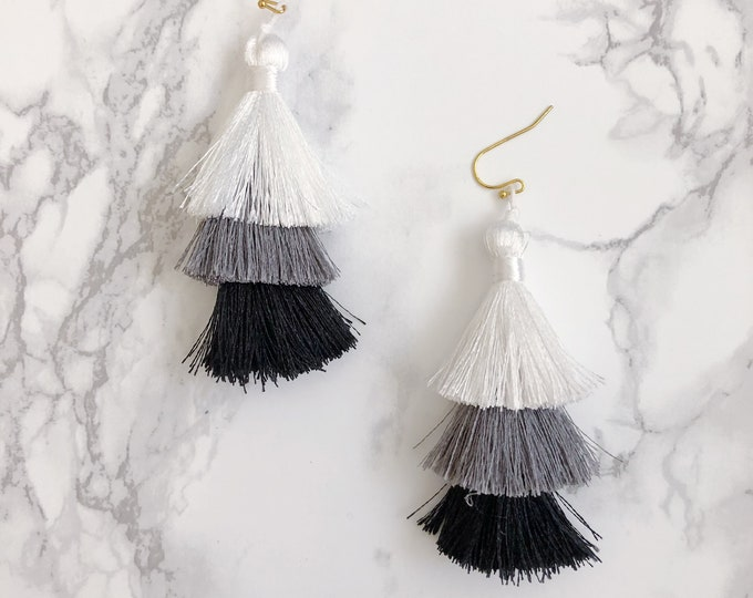 Black, White, & Gray Ombre Tassel Earrings
