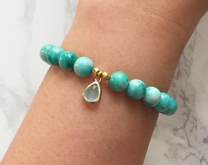 Watercolor Bracelet Charm Bracelet - Mint & Turquoise