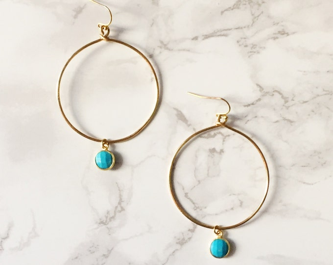 Gold Hoop Earrings - Turquoise Gemstone