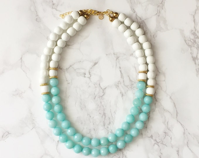 Beaded Statement Necklace - Faceted Mint Amazonite