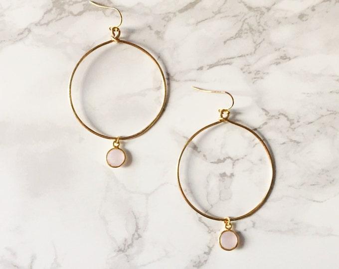Gold Hoop Earrings - Pale Pink Gemstone