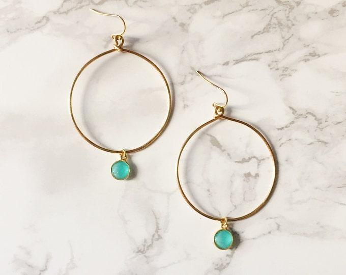 Gold Hoop Earrings - Mint Drop