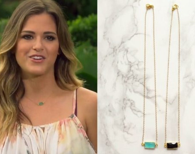 As Seen on THE BACHELORETTE! - Small Rectangle Gemstone Dainty Necklace