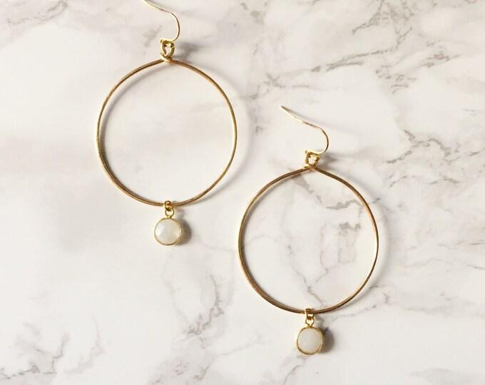 Gold Hoop Earrings - Moonstone White Gemstone
